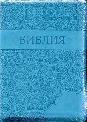 Библия УБО 055ZTI Цветы (Узоры, бирюзовая) (Термовинил)