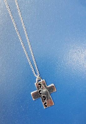 Кулон металл серебро №8 CLC крест широкий